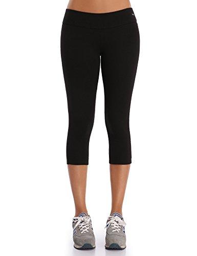 Wingslove Damen Capris Yoga Sporthose Laufenhose 3/4 Leggings Training Sport Strumpfhosen(Schwarz, L) - Leichte Stretch-leggings