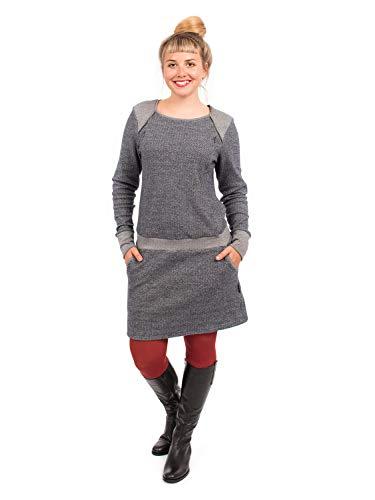 Viva la Mama Umstandsmode Kleid Winter Schwangerschaft Kleid Elegantes Stillkleidung Kleid mit Stillöffnung - Fedora Fischgräte grau - L (Baumwolle Fischgräten-kleid)