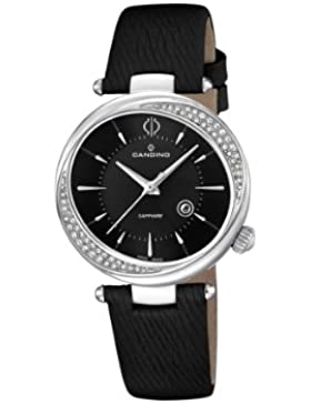Candino Damen-Quarzuhr mit schwarzem Zifferblatt Analog-Anzeige und schwarz Lederband C4532/3