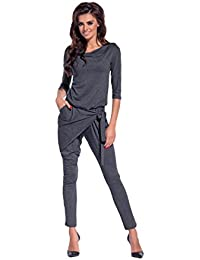 8bcd4b4b2b4 Amazinggirl Overall Jumpsuit with 3 4 Sleeves Casual Belt Fashion Trainer  Elegant Jumpsuit Black