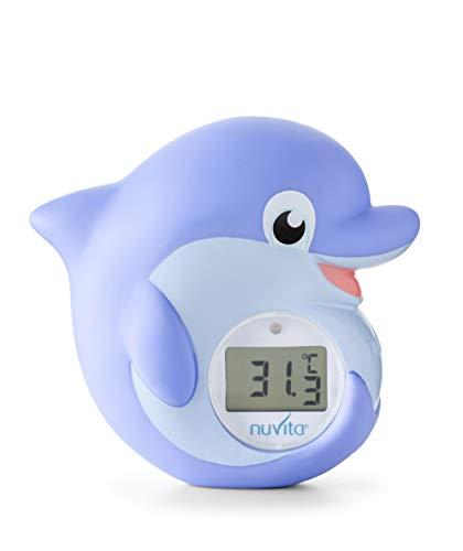 Nuvita 1006 Termometro per Bagnetto 2 in 1 - Bagno e Ambiente - Termometro Digitale con LED - Rossa Troppo Caldo e Blu Troppo Freddo - Giocattolo Sicuro Conforme EN71 - Design Italiano
