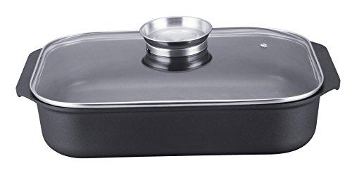 Teglia da forno in pietra con fondo in acciaio antiaderente e coperchio in vetro con valvola