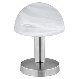 Trio-Leuchten 599000107 Tischleuchte in Nickel matt, Touch-Me-Funktion(4-fach schaltbar, 3 Helligkeitsstufen), Glas alabasterfarbig weiß, exklusive 1xE14 max. 40W, Höhe 21 cm
