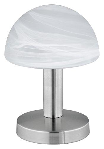 107 Tischleuchte in Nickel matt, Touch-Me-Funktion(4-fach schaltbar, 3 Helligkeitsstufen), Glas alabasterfarbig weiß, exklusive 1xE14 max. 40W, Höhe 21 cm (Touch-lampen)