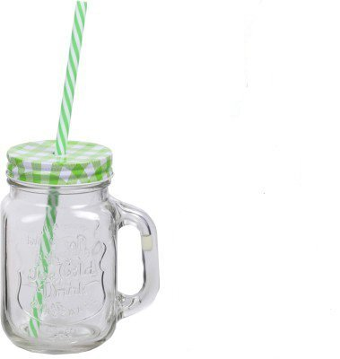 satyam kraft 500 ML MASON GLASS JAR MUG WITH STRAW -1 PCS GREEN