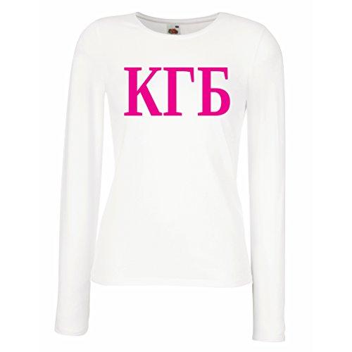 lepni.me Weibliche langen Ärmeln T-Shirt Politisch - KGB, UdSSR - CCCP, Russisch, Русский (Small Weiß Magenta) (Australien T-shirt Fitted)