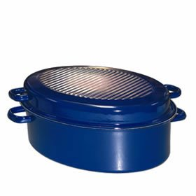 gaensebraeter Gänsebräter blau oval 42cm mit Deckel von Riess Email