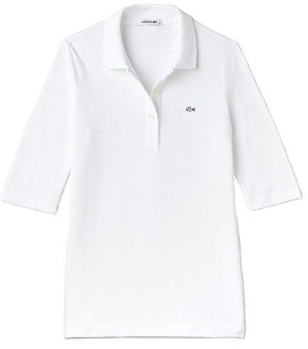 Lacoste PF0088 Klassisches Damen Polo, Polohemd, Polosshirt mit 3/4 Arm, Kurzarm. Regular Fit, für Freizeit und Sport, 100% Baumwolle Weiß (White 001), EU 38 - Lacoste Klassisches Polo-shirt