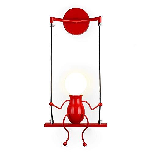 Lampe Murale Moderne Mode Applique Murale Créatif Simplicité Design Appliques pour Chambre d'enfant Couloir Décoratives Eclairage Lampe Douille E27*1 max. 40W , Rouge