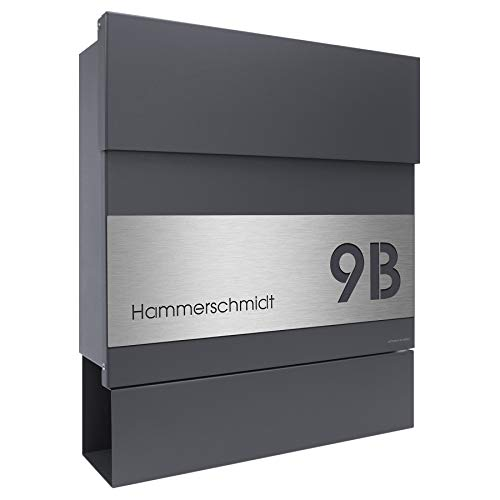 Namensbeschriftung moderner Premium Design Wandbriefkasten mit Zeitungsfach inkl Briefkasten Edelstahl B1 Light Anthrazit
