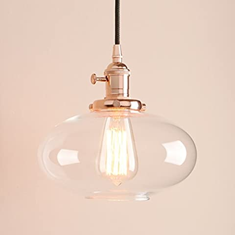 Pathson Industrial Vintage Loft Bar Pendant Light Ceiling Light Lamp Fitting Chandelier with Clear Glass Lampshade Lantern for Kitchen Island Living Room Dining Room Bedroom Office (Copper)