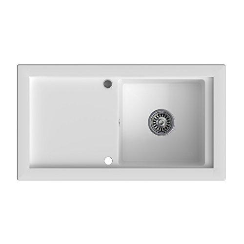 Granitspüle weiß, 1-Becken, Drehexcenter + Siphon, Spülbecken, Küchenspüle, Schrankbreite ab 50 cm