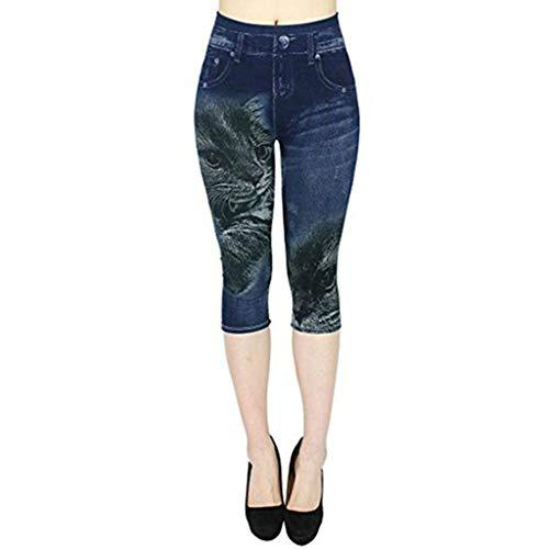 Setsail Damen Mode Jeans-artige, Hohle, Bedruckte, elastische Sieben-Cent-Hose mit hohem Bund Outdoor-Hosen -