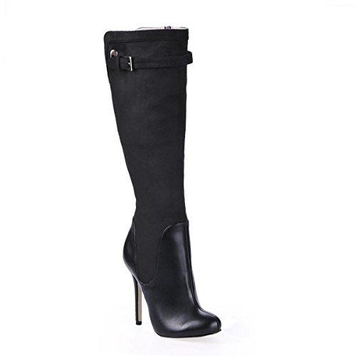 Best 4U® Frauen Kniehohe Stiefel Premium PU Samt Metall Schnalle Stiletto 12CM High Heels Spitz Niet Zipper Winter Schuhe schwarz , EU35 (Leder Kniehohe Wedge Stiefel)