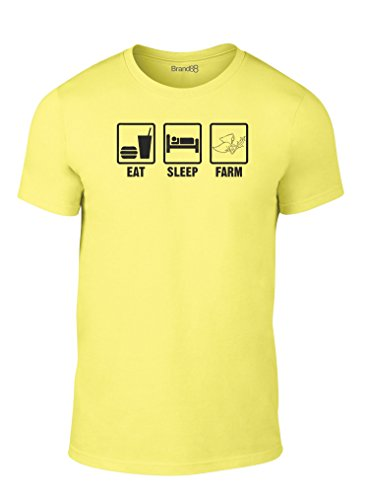 Eat Sleep Farm, Erwachsene Mode T-Shirt, Gelb/Schwarz, L - 104-109cm (Gelb T-shirt Farm)