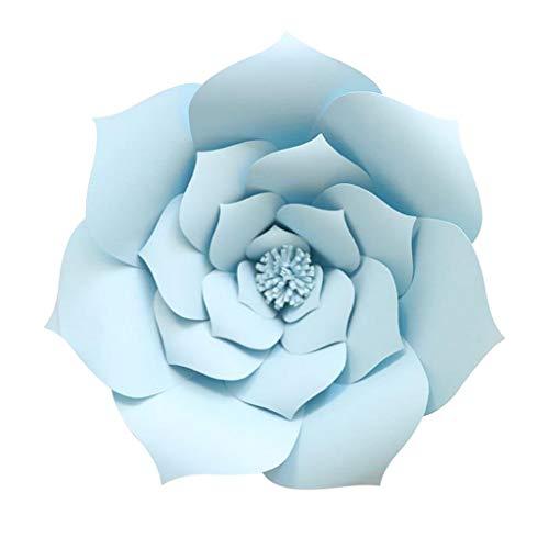 SM SunniMix Große Papierblumen Kunstblumen DIY Blumen Papier für Wohnkultur und Basteln Handwerk (1x Kerze + 1x Schmelzklebstoff) - Hellblau