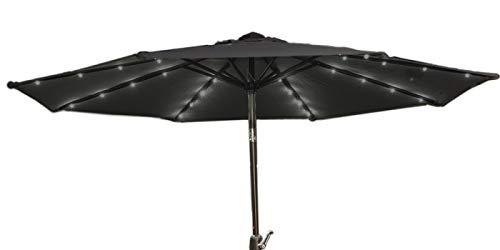 909 OUTDOOR Parasol de Jardin | Grand Parasol avec LED | Parasol Exterieur Disponible en 2 Coloris (Noir)