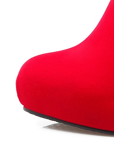 CU@EY Da donna-Stivaletti-Ufficio e lavoro / Casual-Stivali-Quadrato-Finta pelle-Nero / Rosso black-us5 / eu35 / uk3 / cn34