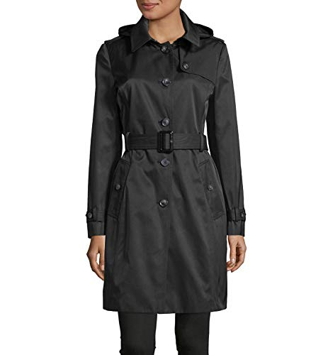 DKNY Women's Hooded Belted Trench Coat Black XXL Belted Damen Trench Coat