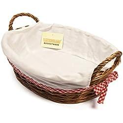 woodluv 38x 28cm ovaler Geschenkkorb mit Weiß Futter, Braun