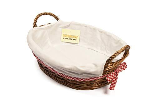 woodluv 38x 28cm ovaler Geschenkkorb mit Weiß Futter, Braun White Bread Box