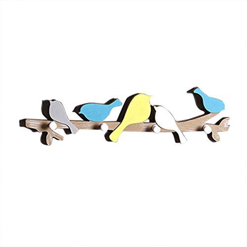 LAAT Kreative Vogel Haken Hänger Holz dekorative Haken Wand hängen Haken Tür Haken Kleidung Shop Wand montiert Mantel Haken Dekoration für Wohnzimmer Size 48 * 9cm (Holz-hänger Dekorative)