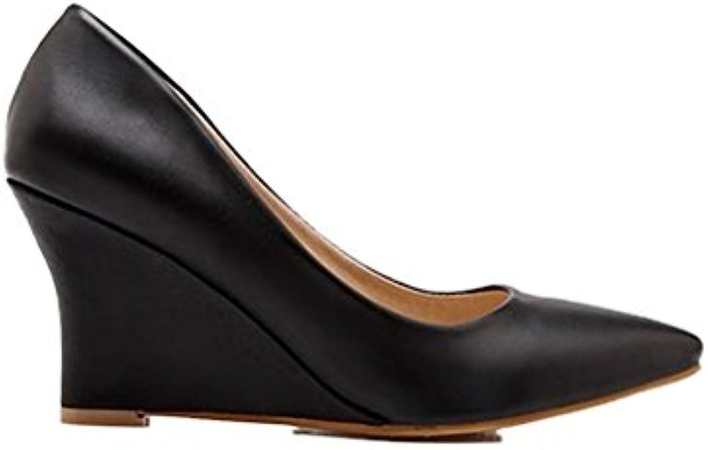 Xianshu Women ' s cuña tacones altos zapatos puntiagudos bombas para damas zapatos de corte