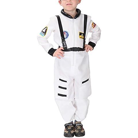 V-SOL Niño Disfraz Astronauta Uniforme Cosplay Para Halloween Blanco Asia M Apto niño 110-120cm