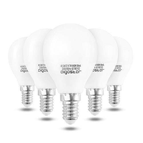 Aigostar - Bombilla LED A5 G45, E14, 7 W equivalente a 60 W, Luz blanca fría 6400K, 560 lúmenes, no regulable -5 unidades [Clase de eficiencia energética A+]