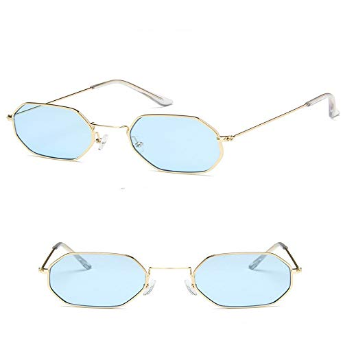 JYTDSA Damen Sechseck Metall Damenmode Randlos Klar Ozean Gläser Sonnenbrille UV400