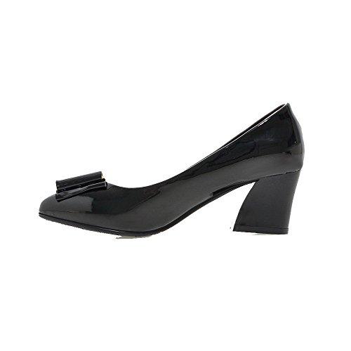 VogueZone009 Femme Pu Cuir à Talon Correct Pointu Mosaïque Tire Chaussures Légeres Noir