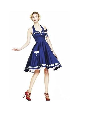 Hell Bunny - Motley 50s Dress Rockabilly Kleid Blau/Weiß ohne Petticoat (XS-XL), Blau, L