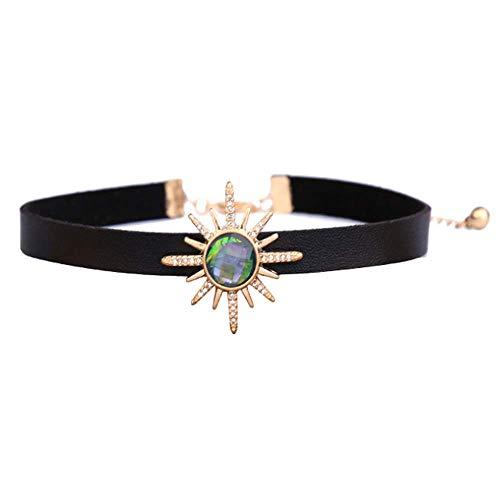 (XJak Kreative Geschenk Kristall Gemstone Pendant Colorful Sunshine Blume Halskette Damen Schmuck Kette Länge: 33cm Verlängerungskette: 8,5cm)