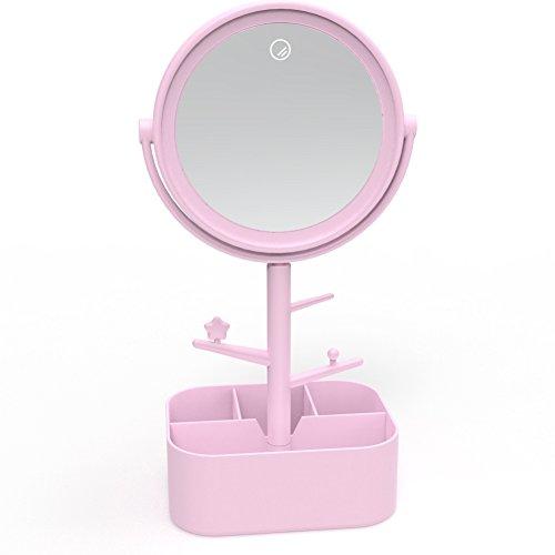 MojiDecor Kosmetikspiegel mit LED Beleuchtung Schminkspiegel mit Kosmetik- Schmuck-Aufbewahrungsbox, USB Wiederaufladbarer oder...