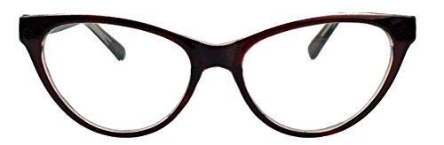 kleinere filigrane Damen Nerd Brille 50er 60er Jahre Cat Eye Brillengestell Klarglas CN90 (Oxblood)