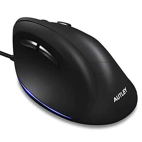 AUTLEY Mouse Ergonomico Cablato, Mouse Verticale Mouse Cablato per Laptop Computer Desktop Mac, 1000/1600/2400/3200 DPI, Ottimo per Mani Grandi, Nero