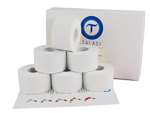 SPORTTAPE WEIß Set 6 Rollen, 3,8cm x 10m, Tape, 100% Baumwolle, Tapeverband für Sportler, inkl. Flyer mit Anleitung zum Tapen