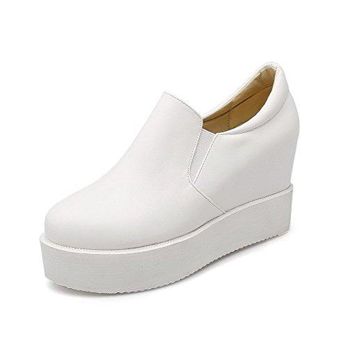 AgooLar Femme Matière Souple Tire Rond à Talon Haut Couleur Unie Chaussures Légeres Blanc