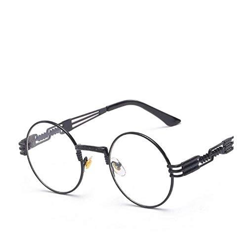 Runde Sonnenbrille Männer Frauen Legierung Brillen Kreisform Marke Designer Sonnenbrille Spiegel Hohe Qualität Uv400 (Lenses Color : Black clear lens)