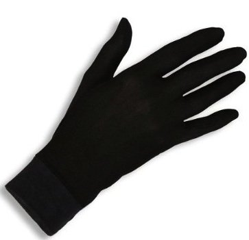 Jasmine Silk guantes de seda puras térmicas Guantes del ciclo Liner Guante Interior Ski Bike Negro (Size: Medium 8.5 - 9.5 (From the longest finger tips to the wrist))