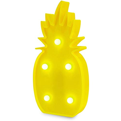 Eulan Pineapple Lamp Pineapple Decorations Pineapple Decor Light Pineapple Party Decorations Battery Operated Yellow Pineapple Lamp Table Lamp Light for Party Supplies-Wall Decoration