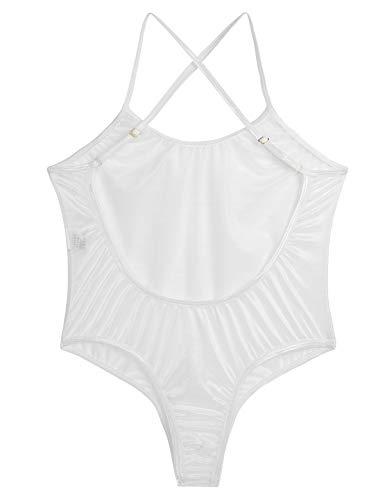 Agoky Damen Basic Bodys Rückenfrei Tiefer Ausschnitt Trägertop Frauen Durchsichtig Nachtwäsche Leotard Trikots Weiß One Size - 5