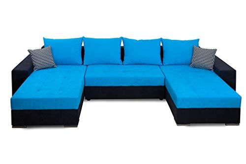 Collection AB Jockey XL Wohnlandschaft mit Bettfunktion und Bettkasten Ecksofa, Stoff, Anthrazit/blau, 161 x 311 x 84 cm