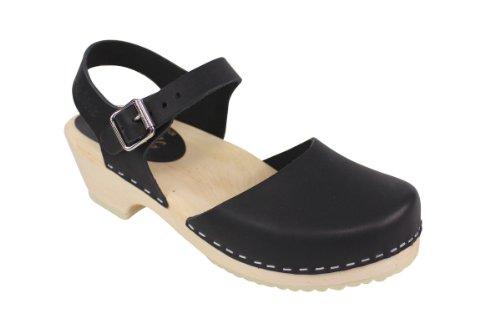 Lotta From Stockholm Low Wood - Schwedenclogs mit niedrigem Absatz - schwarzes Leder - Größe EUR 38 (Skandinavische Fußbett)