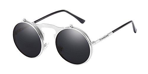 BOZEVON Metall Retro Steampunk Style Circle Sonnenbrille Flip up Runde Linse für Herren & Damen Silber-grau
