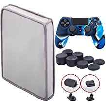 9CDeer Soft Neoprene Dirt Dust Protective Cover Grey for PS4 Slim Vertical Version + 1 Piece Controller Silicone Cover Skin camouflage blue + 2 Pieces Controller Dust Proof Plugs + 8 Pieces Thumb Grips by 9CDeer