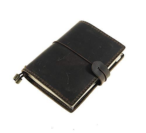 HM&LN Akademischer Planer Organizer für Reisepass, Karten, Taschen, Terminkalender, Tageskalender, nachfüllbar und handgefertigt - Steigert die Produktivität und Dankbarkeit braun