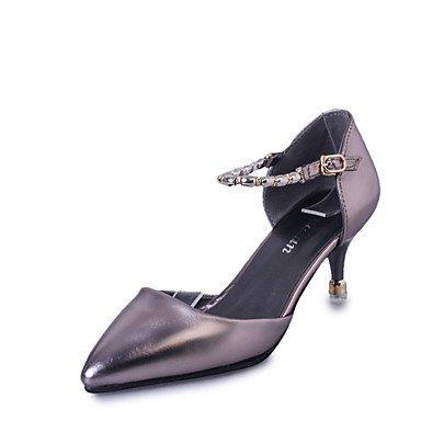LvYuan Damen-Sandalen-Lässig-Lackleder-Stöckelabsatz-Komfort-Schwarz Silber Grau gray