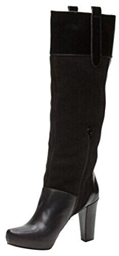 Bluegenex Ladies Boots BLU 64.1 Knee-high Leather Heeled Boots Black Heel height: 9.5 cm; Upper: 25 cm