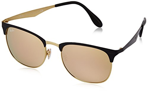 Ray Ban Unisex Sonnenbrille RB3538 Mehrfarbig (Gestell: schwarz Gold, Gläser: licht braun verspiegelt pink 187/2Y)), Large (Herstellergröße: 53)